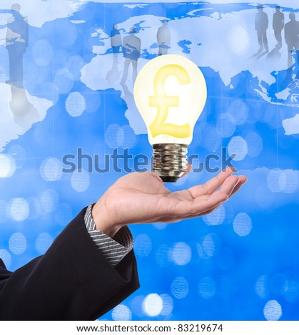 Pond money sign in light bulb on hand of business man, ideal for global financial concept