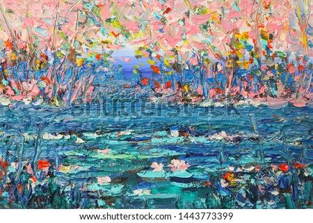 Pond with lilies oil painting. Blooming rose garden. Picturesque texture with oil.