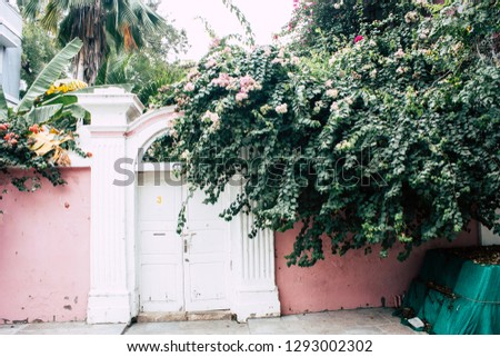Pondicherry Tamil Nadu India January 21, 2019 View of the architecture of the streets of White Town district in the french colonial city of Pondicherry in the morning #1293002302