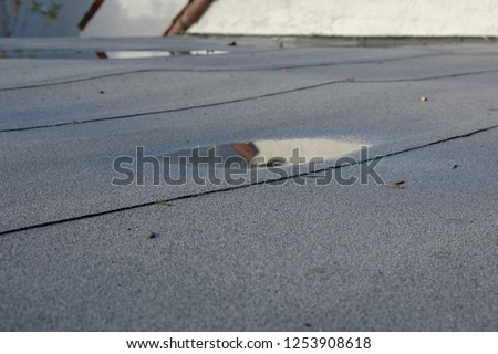 Ponding rainwater on flat roof after rain is result of drainage problem. Roof settling or sagging is result of framing issues, rotten or saturated sheathing. #1253908618