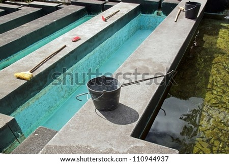 Fish Pond Supplies on Stock Photo Ponds Of Fish Farming And Its Equipment Seal Broom Brush