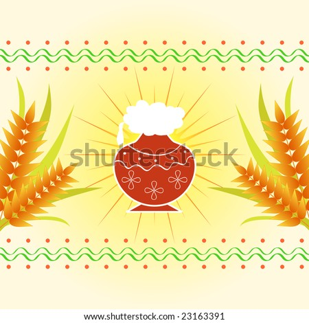Pongal - The south Indian harvest festival with pot and wheat