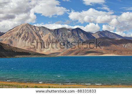 Pongong Tso lake, Ladakh, Jammu & Kashmir, India high altitude lake 4,595 m /15,075 ft - stock photo