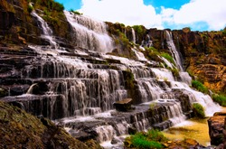 Pongour Waterfall - a magnificent destination to admire the splendor of nature. (Da Lat, Lam Dong Province, Vietnam).