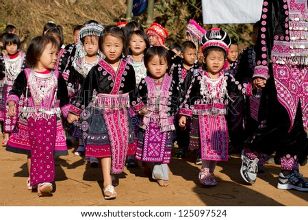 PONGYANG, CHIANGMAI/THAILAND - JANUARY 15: Unidentified traditionally dressed Hmong hill tribe children in Hmong new year festival on January 15, 2013 in Chiangmai, Thailand.