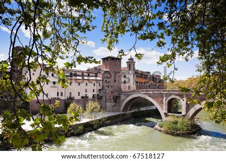 Pons Fabricius - the oldest bridge of Rome, the river Tiber, Italy