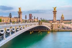 Pont Alexandre III, Alexander 3 Bridge, in Paris, France