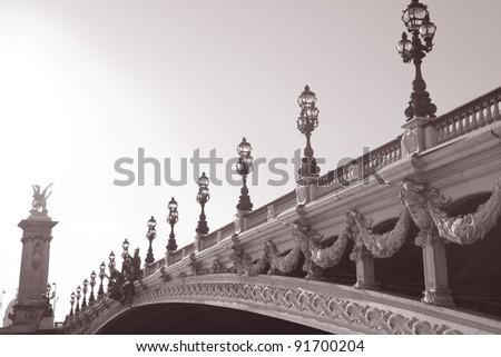 Pont Alexandre III Bridge in Black and White Sepia Tone in Paris, France