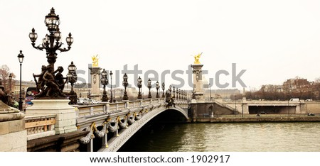 Pont Alexandre III - Bridge in Paris, France.  Movement on cars driving – Gloomy winters day.  High Contrast, Copy space.