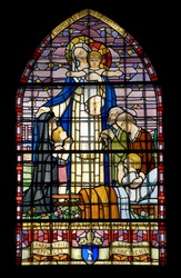 Pont-de-Beauvoisin (Savoie, Rhone-Alpes, France) - Stained glass into the St-Clement church