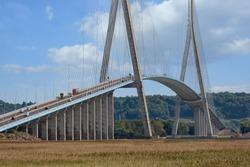 Pont de Normandie, big bridge crossing river Seine near Le Havre and Honfleur in France