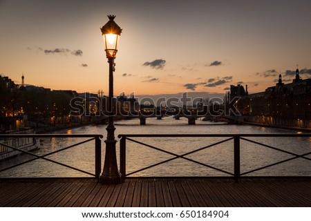 Pont des arts street lamp at night, Paris