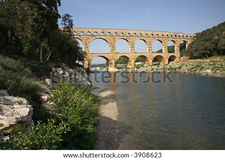 Pont Du Gard Roman Aqueduct - stock photo
