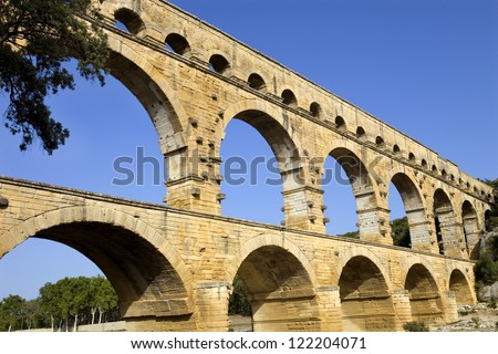 Pont du Gard, Roman aqueduct in southern France near Nimes - stock photo