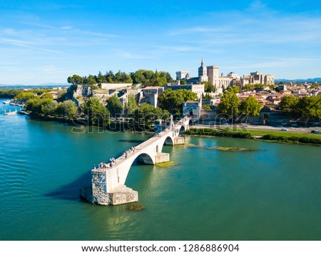 Pont Saint Benezet bridge and Rhone river aerial panoramic view in Avignon. Avignon is a city on the Rhone river in southern France.
