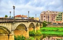 Pont Vieux, a bridge above the Adour River in Dax - France, Landes