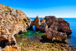 Ponta da Piedade or Point of Mercy is a headland with rock formations near Lagos town in Algarve region of Portugal
