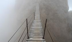 Ponte Cristallo, famous wooden suspension bridge on Monte Cristallo, Dolomites, Italy