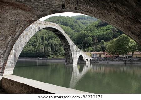 Ponte della Maddalena across the Serchio. Tuscany. Bridge of the Devil