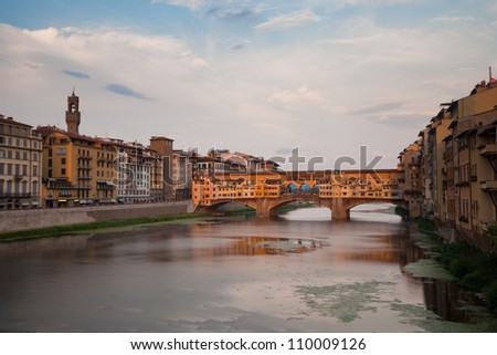 Ponte Vecchio and river Arno in Florence, Tuscany, Italy, Europe - stock photo