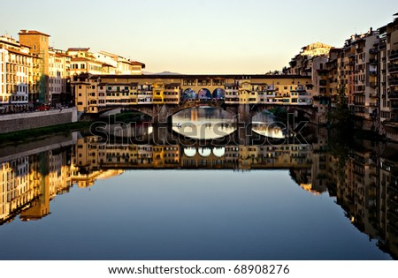 Ponte Vecchio at sunset in Florence, Italy