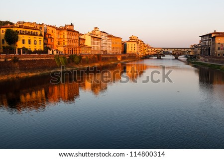 Ponte Vecchio Bridge Across Arno River in Florence at Morning, Italy