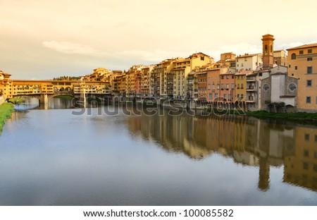 Ponte Vecchio bridge across Arno river in Florence, Italy