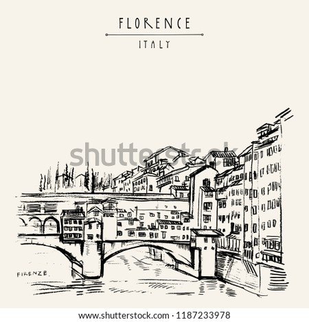 Ponte Vecchio bridge in Florence, Italy, Europe. Vintage travel sketch. Retro style touristic postcard, poster template or book illustration