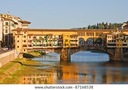 Ponte Vecchio Bridge over Arno river, Florence, Tuscany, Italy