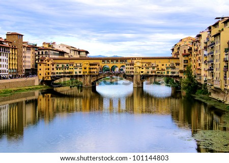 Ponte Vecchio, Florence with reflections in the Arno River