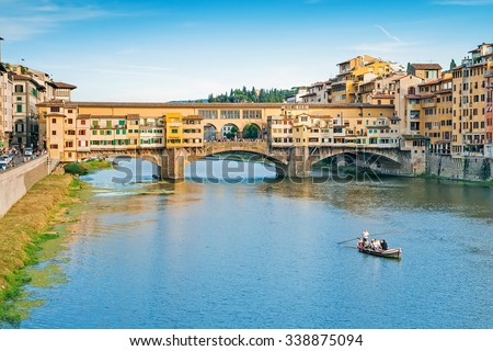 Ponte Vecchio on the river Arno in Florence, Italy stock photo