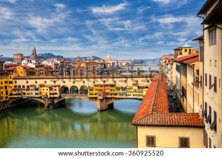 Ponte Vecchio over Arno river in Florence, Italy stock photo