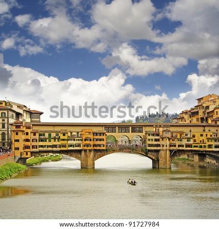 Ponte Vecchio, River Arno, Florence, Italy, UNESCO World Heritage Site - stock photo
