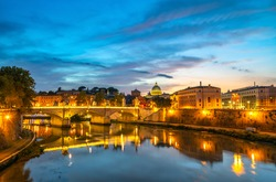 Ponte Vittorio Emanuele II bridge with St.Peter's basilica in the background. Vatican City. Rome. Italy