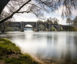Pontevea medieval bridge over Ulla river in Teo, Galicia, Spain