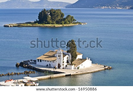 Pontikonisi area at Corfu island, Greece - stock photo