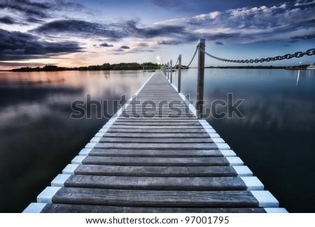 pontoon jetty across the water in yamba nsw