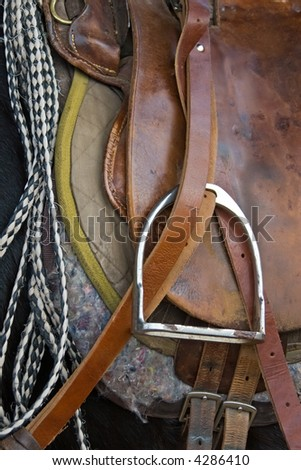 Pony saddle, horse waiting for the rider at the ranch