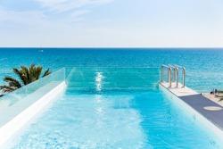 Pool and sea landscape in Majorca