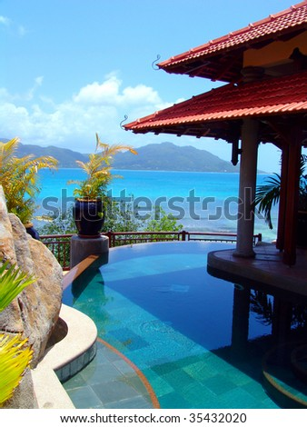 pool and tropical beach - travel background
