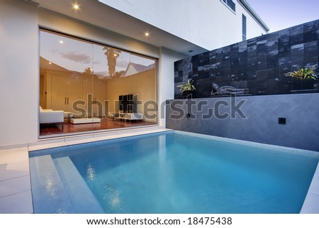 Pool area of a luxury terrace house