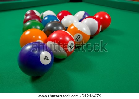 Pool balls before the starting hit - stock photo