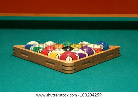 Pool balls set for a game of 8 ball