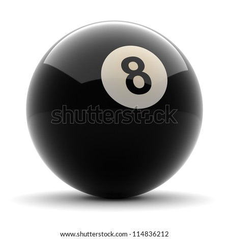 Pool Black Ball number eight rendered on solid white background