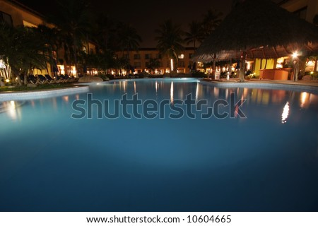Pool by night  Holiday resort in the tropic
