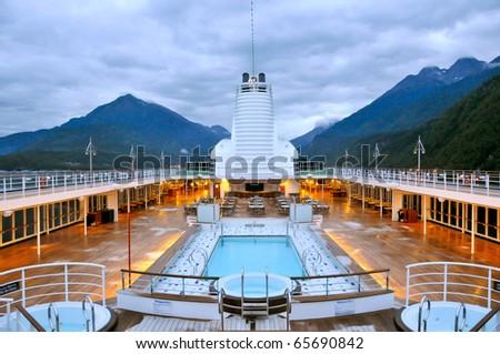 pool deck of luxury cruise ship near alaska coast