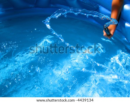 pool filling water from hose