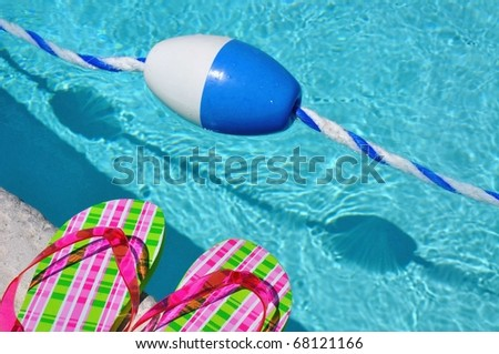 Pool float with pretty flip flops