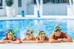 Pool, fun, smiling.