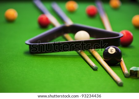 Pool game on green table